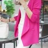 เสื้อคลุมแฟชั่น พร้อมส่ง สีชมพูบานเย็น แขนยาว แต่งด้วยปกโฉบเฉี่ยวยอดนิยม! ดีเทลชายเสื้อจับจีบด้านหลังน่ารัก