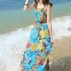 MAXI DRESS ชุดเดรสยาว พร้อมส่ง สีโทนฟ้า ผ้าชีฟอง เนื้อนิ่ม ใส่สบาย พิมพ์ลายดอกไม้สวยมากๆค่ะ