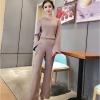 ชุดเซ็ทแฟชั่นสีชมพูกะปิ เสื้อแขนยาว + กางเกงขายาวทรงกระบอก แนวเรียบๆ สวยดูดี