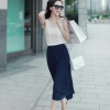 maxi dress - เดรสยาวผ้าชีฟอง แขนกุด สีน้ำเงิน สีเบจ กระโปรงอัดพลีท จั๊มเอว น่ารัก ใส่เที่ยว ทำงาน Asia Street Fashion