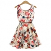 Fancyqube Novelty Dresses For Women Trendy Fashion Style Onlinees Round Neck Florals Print Shop Fashion Dresses Online Apricot