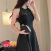 Cyber Spaghetti Strap Women Chiffon Pleated Dresses Summer Off Shoulder O Neck Sheer Women is Fashion Dresses ( Black )