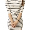 Women Half Sleeve Striped Casual Shop Fashion Dresses Online (White)