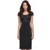CatWalk Women's Cap Sleeve O-Neck Pencil Dresses Online (Black)