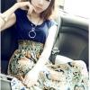 maxi dress ชุดเดรสยาวแฟชั่นเกาหลี ผ้ายืดตัดต่อผ้าฝ้ายพิมพ์ลาย สีกรมท่า ลายส้มเขียว ใส่ทำงาน
