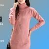 เสื้อกันหนาวไหมพรม พร้อมส่ง สีชมพู คอเต่า แขนยาว ดีเทลลายข้าวหลามตัด น่ารักๆ ตัวยาว คลุมสะโพก ใส่กันหนาวได้ค่ะ