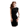 Women Sexy Pleated One Shoulder Slim Mini Dresses Black - Intl