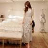 maxi dress ชุดเดรสยาวแฟชั่น คอรูด แขนกุด ใส่ทำงาน ผ้าคอตตอน ซิบหลัง สีเทา ใส่เที่ยว เท่ห์ๆ จ้า Asia Street Fashion