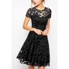 Sunwonder O-Neck Lace Splice Shop Fashion Dresses Online (Black)
