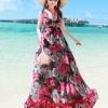 MAXI DRESS ชุดเดรสยาว พร้อมส่ง พื้นสีดำ ผ้าชีฟอง ลายดอกไม้สีโทนแดงทั้งชุด คอวี จั้มช่วงหน้าอก ชายกระโปรงมีสองชั้น สวย