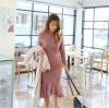 ชุดเดรสลูกไม้สีชมพูออกงาน ไปงานแต่งงาน สวยหวาน ทรงเข้ารูป แขนยาว