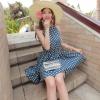dress ชุดเดรส ลายจุด แขนกุด ใส่ทำงาน ผ้าชีฟอง สีน้ำเงิน น่ารัก Asia Street Fashion