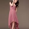 maxi dress ชุดเดรสยาว แฟชั่น ใส่ไปงานแต่งงาน เกาะอก ผ้าชีฟอง สีชมพู ใส่ออกงาน น่ารัก สวยๆ Asia Street Fashion