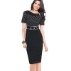 Elegant Polka Dot Women - Dresses (Black)