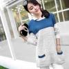fashion เสื้อกันหนาวไหมพรมแฟชั่น คอปก สีน้ำเงิน น่ารักๆ ใส่เที่ยว