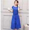 ชุดเซ็ท 2 ชิ้นเข้าชุดสีน้ำเงินสวยๆ เสื้อแขนสั้น+กางเกงขากว้าง