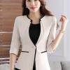 เสื้อสูทแฟชั่น เสื้อสูททำงาน เสื้อสูทสำหรับผู้หญิง พร้อมส่ง สีครีม คอวี แต่งขลิบสีดำ ผ้าโพลีเอสเตอร์ 100 %