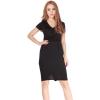 LALANG New Elegant V-neck Women Ladies Dresseses Knee-length Maternity Women is Dresses OnlineBlack