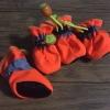 รองเท้าสุนัข รองเท้าแมว สีส้มสะท้อนแสง(4 ข้าง)