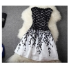 Buenos Ninos Women Patchwork Lace Floral Print Sleeveless BlackWhite Women is Dresses Online - INTL