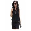 Chiffon Sleeveless Chic Tunic Women is Fashion Dresses (Black)