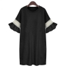 2016 Summer New Large Size Women Fat Sister Fertilizer To IncreaseLotus Sleeve Cotton Dresses For Women Trendy Fashion Style Online(Black) - INTL