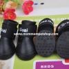 รองเท้าสุนัข รองเท้าแมว บูทยางสีดำ (4 ข้าง)