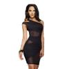 One Shoulder Clubwear Tank Asia Dresses (Black)