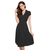 Cyber ACEVOG Stylish Ladies Women Cap Sleeve V-neck Knee-lengthCasual Party Shop Fashion Dresses Online (Black)