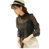 Gril Fashion Spring Autumn Primer Shirt Stitching shirt Black