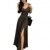 fashionstory Maxi dress เดรสยาวสำหรับผู้หญิงลายจุดสายเดี่ยวด้านหลังไขว้ - สีดำจุดขาว