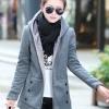 เสื้อกันหนาว พร้อมส่ง สีเทา ซิบหน้า มีฮูดสุดเท่ห์ ฮูดบุด้วยขนสัตว์สังเคราะห์นิ่มๆ แฟชั่นมาใหม่สไตล์เกาหลี