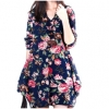 ZANZEA New Sexy Womens Floral Linen Long Sleeve V-Neck Cute ShortMini Dress Dark Blue
