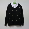 เสื้อคลุม คาร์ดิแกน คอกลม ปักแต่งลายดาว ปักมุก สีดำ