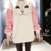 Tucky&Jiang เสื้อแฟชั่น บุกันหนาว ผ้าขนสัตว์เทียม ลายแมวแขนสีชมพู