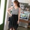 DRESS ชุดเดรสแฟชั่นแขนกุด คอกลม ลายขวางสีดำ ขาว ผ้าคอตตอน + ชีฟอง จั๊มเอว ASIA STREET FASHION