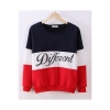 Buytra Women Colored Sweatshirt Casual Thick Long Sleeve Blue+Red