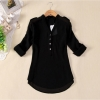 ZANZEA New Womens Chiffon Casual Loose Shirt Lady Long Sleeve TopsBlouse Tee Black