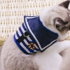 สายจูงแมว ลายกัปตันเรือ สีน้ำเงิน