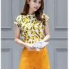 ชุดเซ็ท2ชิ้นเข้าชุดโทนสีเหลือง เสื้อแขนกุดพิมพ์ลายสวยๆ+กางเกงขาสั้นสีเหลือง