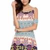 Fashion Sexy Womens Floral Linen Long Sleeve V-Neck Cute Short MiniWomens Dresses Online Dark Blue (Intl)