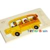 Uncle Wood - 2 layer Jigsaw Puzzle 'School Bus ตัวต่อจิ๊กซอว์ไม้-รถโรงเรียน