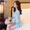 จั๊มพ์สูทขาสั้นสีฟ้า แฟชั่นเกาหลีสวย น่ารัก แขนยาว ทรงเข้ารูป ลุคเรียบๆ สวยดูดี