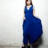 maxi dress - ชุดเดรสยาวแขนกุด คอวี สีน้ำเงิน ใส่เที่ยว ทำงาน ผ้าชีฟอง สามารถใส่ออกงานได้ Asia Street Fashion