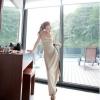maxi dress ชุดเดรสยาว แฟชั่นเกาหลี ผ้าคอตตอน แต่งแถบสีดำด้านซ้ายมีสายรูดด้านข้าง ชายประโปรงเล่นระดับ สีเบจ Asia Street Fashion