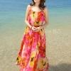 MAXI DRESS ชุดเดรสยาว พร้อมส่ง สีโทนส้ม ผ้าชีฟอง เนื้อดี ใส่สบาย มีซับใน พิมพ์ลายดอกไม้สีเหลืองสลับสีส้ม สีสันสดใส สายเดี่ยวเซ็กซี่