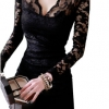 V-neck Long Sleeve Lace Mini Women - Dresses Black
