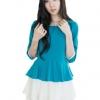 Fashion on art เดรสผ้าฝ้ายแขนสามส่วน - สีฟ้าอมเขียว