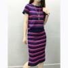 Europe Stlye Summer Autumn women pencil dress suit slim fit KnittedShort Sleeve Stripe Maxi dress