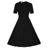 "Cyber ANGVNS Women Fashion Casual Vintage Style High Waist SolidPleated เน€เธชเธทเน‰เธญเน""เธซเธกเธžเธฃเธซเธก (Black)"